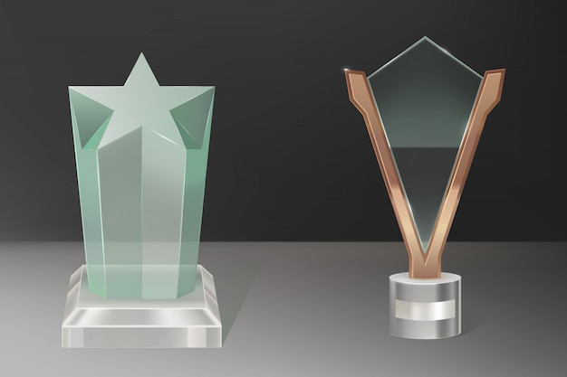 ベクトル現実的なガラストロフィー賞 無料ベクター