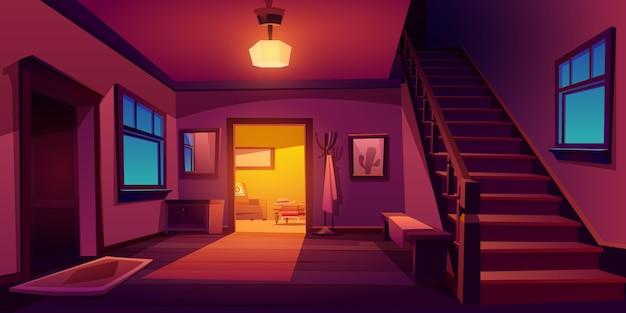 木製の階段と素朴な家の廊下のインテリア 無料ベクター
