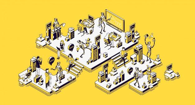 Человек и роботы офисные работники, работники робототехники Бесплатные векторы