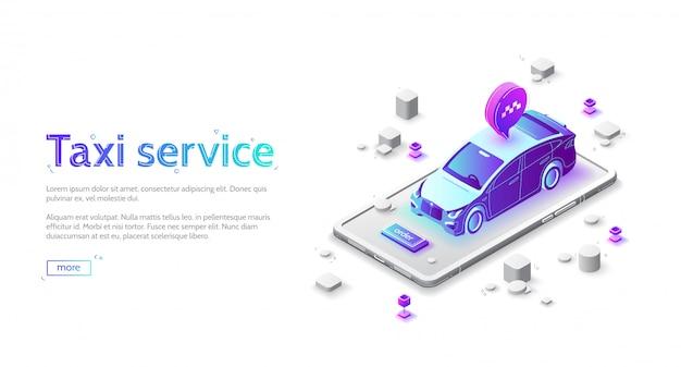 Целевая страница службы такси, онлайн заказ автомобиля Бесплатные векторы