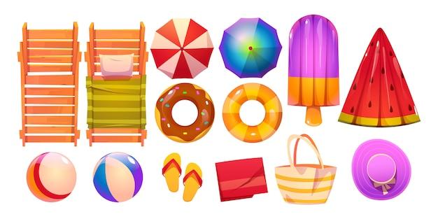 Аксессуары для бассейна для летнего отдыха Бесплатные векторы