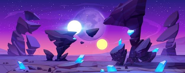 Чужой планете пейзаж ночью для космической игры Бесплатные векторы