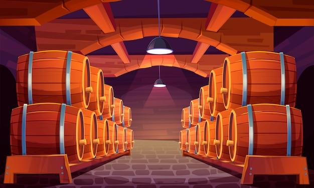 セラーでワインと木製の樽 無料ベクター