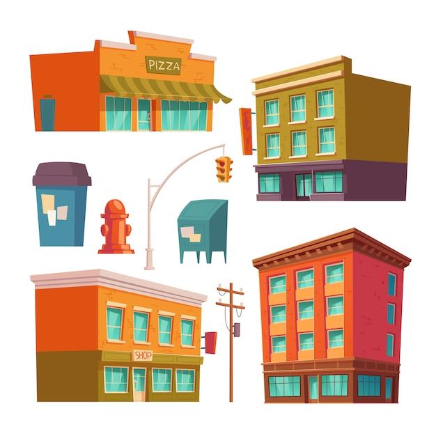Городские здания с квартирами и магазинами Бесплатные векторы