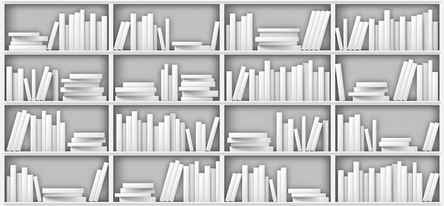 Макет белой книжной полки, книги на полке в библиотеке Бесплатные векторы