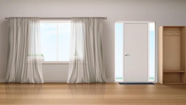玄関ドアと窓のある家の廊下 無料ベクター