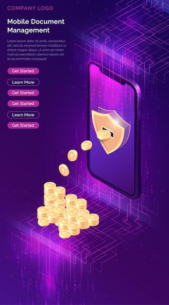 暗号通貨マイニング等尺性 無料ベクター