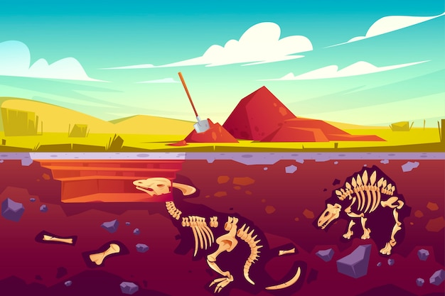 恐竜の化石発掘、古生物学の作品 無料ベクター