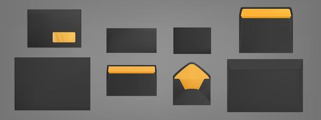 Набор шаблонов черные конверты. чистые бумажные обложки Бесплатные векторы