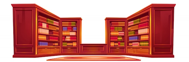 Роскошная старая библиотека, атенеум, интерьер, вещи. Бесплатные векторы