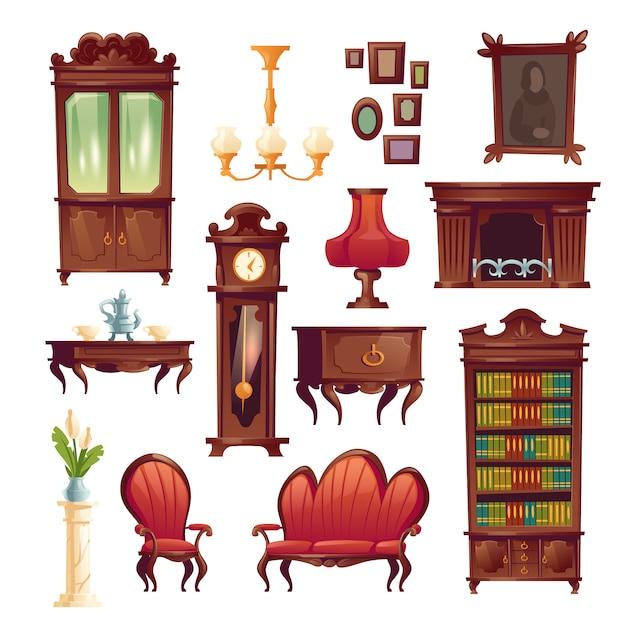 Викторианская мебель для гостиной, старая классическая мебель Бесплатные векторы
