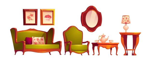Интерьер гостиной в классическом викторианском стиле Бесплатные векторы