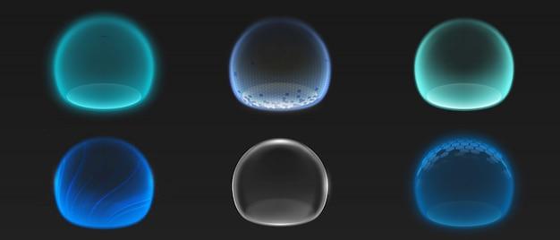 Различные сферы свечения энергии Бесплатные векторы
