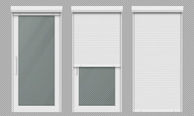 Стеклянные двери с белой рольставней Бесплатные векторы