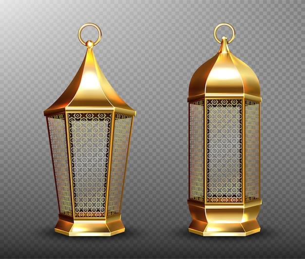 アラビア語のランプ、アラブの飾り、リング、キャンドルの金のランタン。 無料ベクター