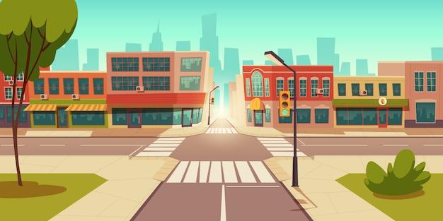 Городской уличный пейзаж, перекресток, светофор Бесплатные векторы