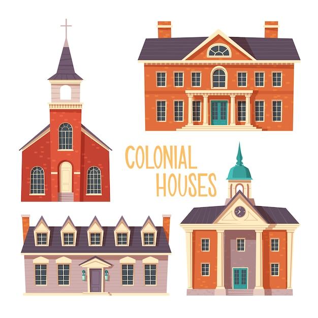 都市のレトロな植民地様式の建物漫画 無料ベクター