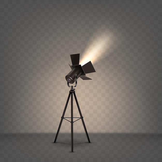 Прожектор реалистичная иллюстрация с теплым светом Бесплатные векторы
