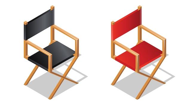 Режиссерское кресло изометрической значок с тенью Бесплатные векторы