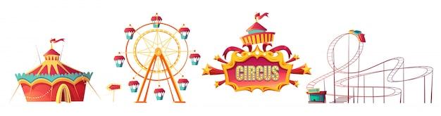 遊園地、カーニバルまたはお祝いフェア漫画 無料ベクター