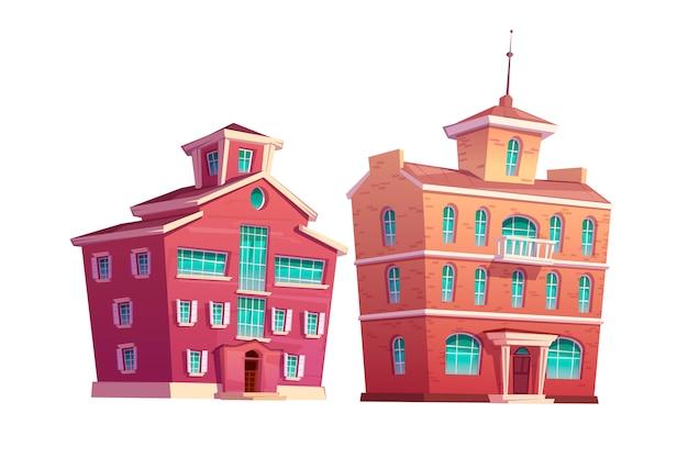 都市のレトロな建物漫画セット 無料ベクター