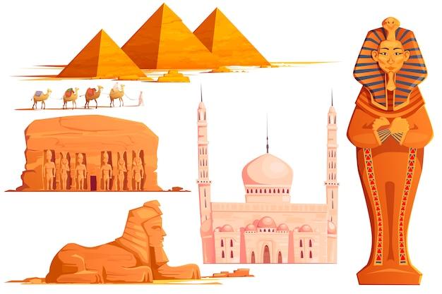 古代エジプトのベクトル漫画セット 無料ベクター