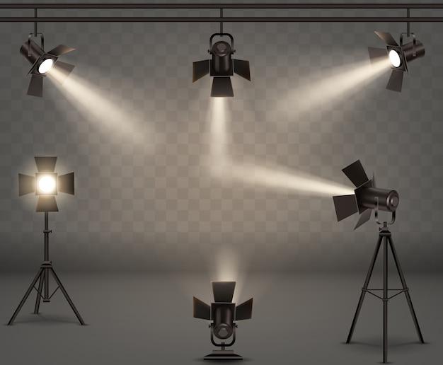 Реалистичная коллекция прожекторов Бесплатные векторы