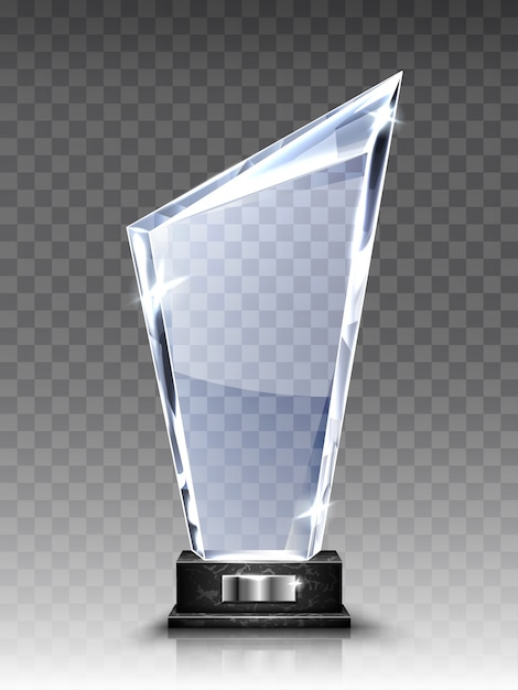 ガラストロフィーまたはアクリル受賞者のリアルな賞 無料ベクター