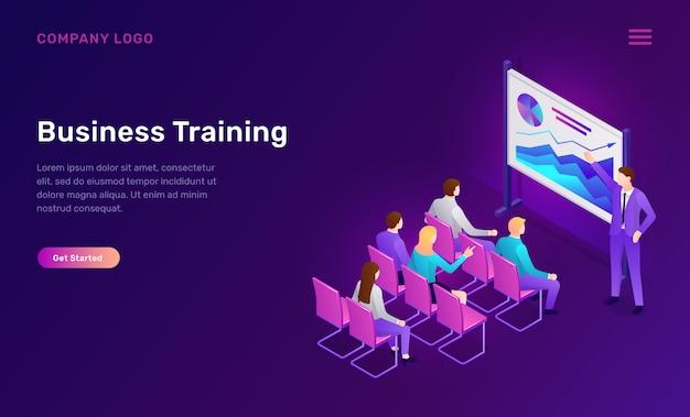 Бизнес-тренинг изометрические веб-шаблон Бесплатные векторы