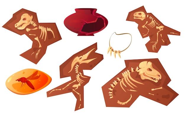 考古学および古生物学の発見漫画 無料ベクター
