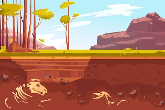 自然景観における考古学的発掘 無料ベクター