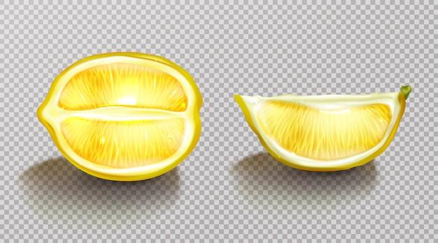 Лимон, нарезанные цитрусовые с реалистичной тенью Бесплатные векторы