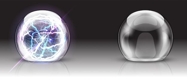 Реалистичный стеклянный купол, электрический шар или сфера Бесплатные векторы