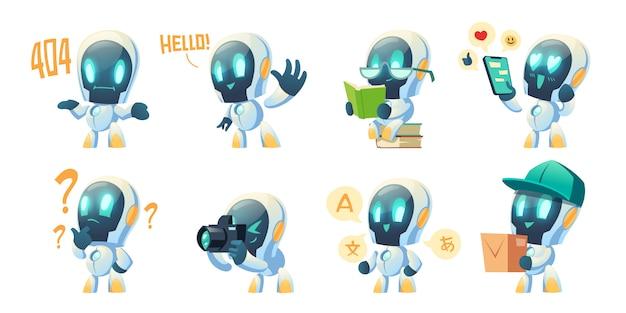 Милый чат бот мультфильм, разговор робот Бесплатные векторы