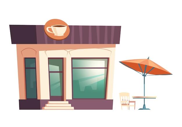 ファーストフードのコーヒーレストラン、ストリートテーブルの傘 無料ベクター