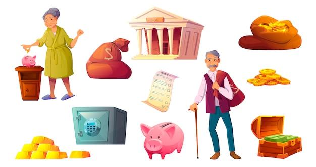 貯金漫画アイコン、貯金箱のセーフティ 無料ベクター