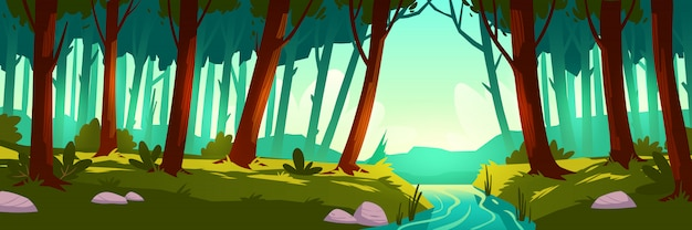 Векторный пейзаж с лесом и рекой Бесплатные векторы