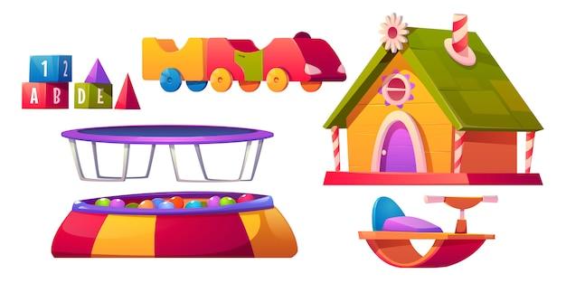 子供のプレイルームの家具と機器セット分離 無料ベクター