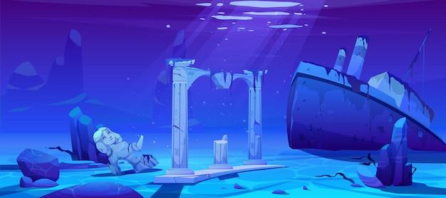 Крушение корабля, затонувший пароход на песчаном дне океана Бесплатные векторы