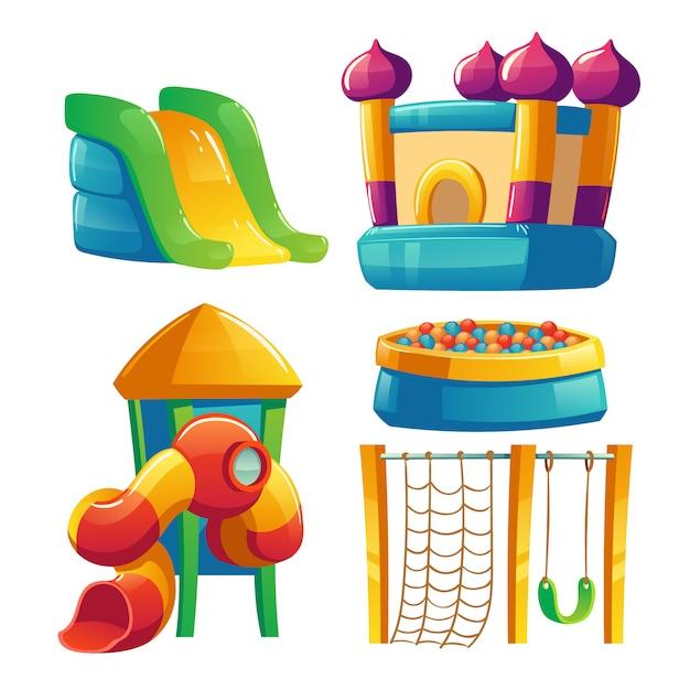 Детская площадка с батутом и горкой Бесплатные векторы