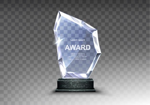Стеклянный трофей или акриловый приз победителя реалистичный Бесплатные векторы
