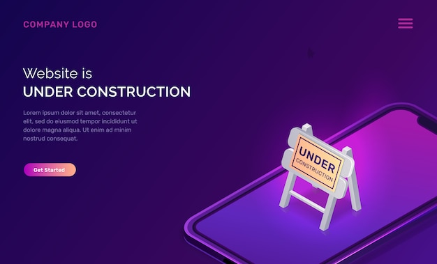 建設中のウェブサイト、メンテナンス作業エラー 無料ベクター