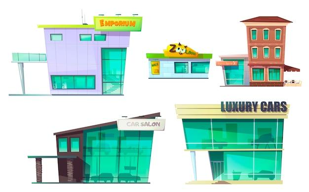 Городское ретро современное здание мультяшный набор Бесплатные векторы