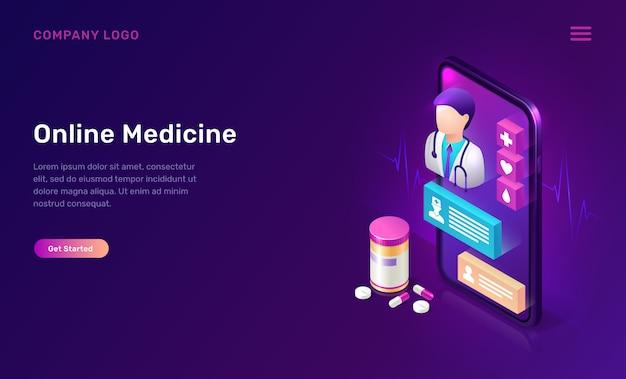 Интернет-медицина изометрической концепции, телемедицина Бесплатные векторы