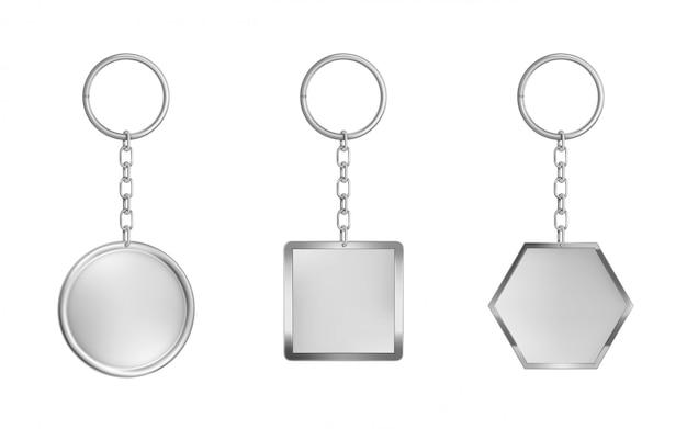 キーチェーンセット。金属製の円形、正方形、六角形 無料ベクター