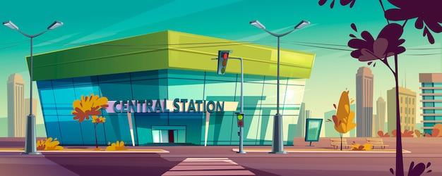 Современный центральный вокзал на городской улице Бесплатные векторы