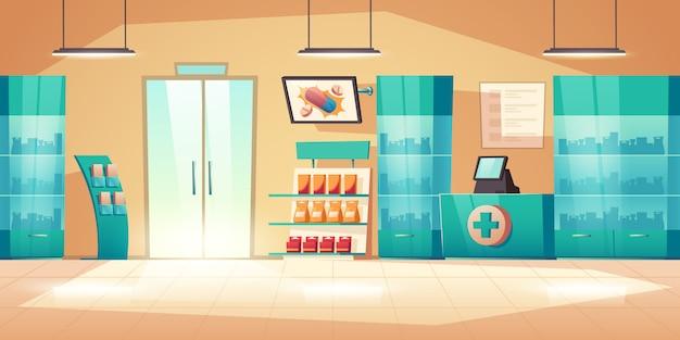 カウンター、薬、薬と薬局のインテリア 無料ベクター