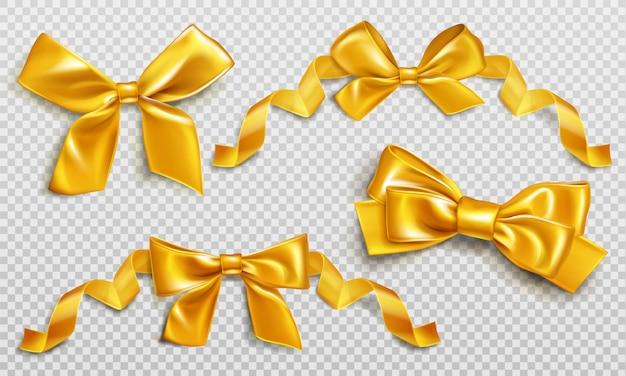 プレゼントボックスセットを包むためのゴールドリボンと弓 無料ベクター