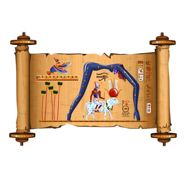 古代エジプトのパピルススクロール漫画 無料ベクター