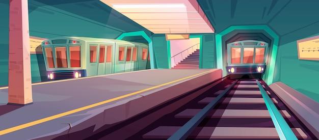 Прибытие поезда на пустую платформу метро Бесплатные векторы